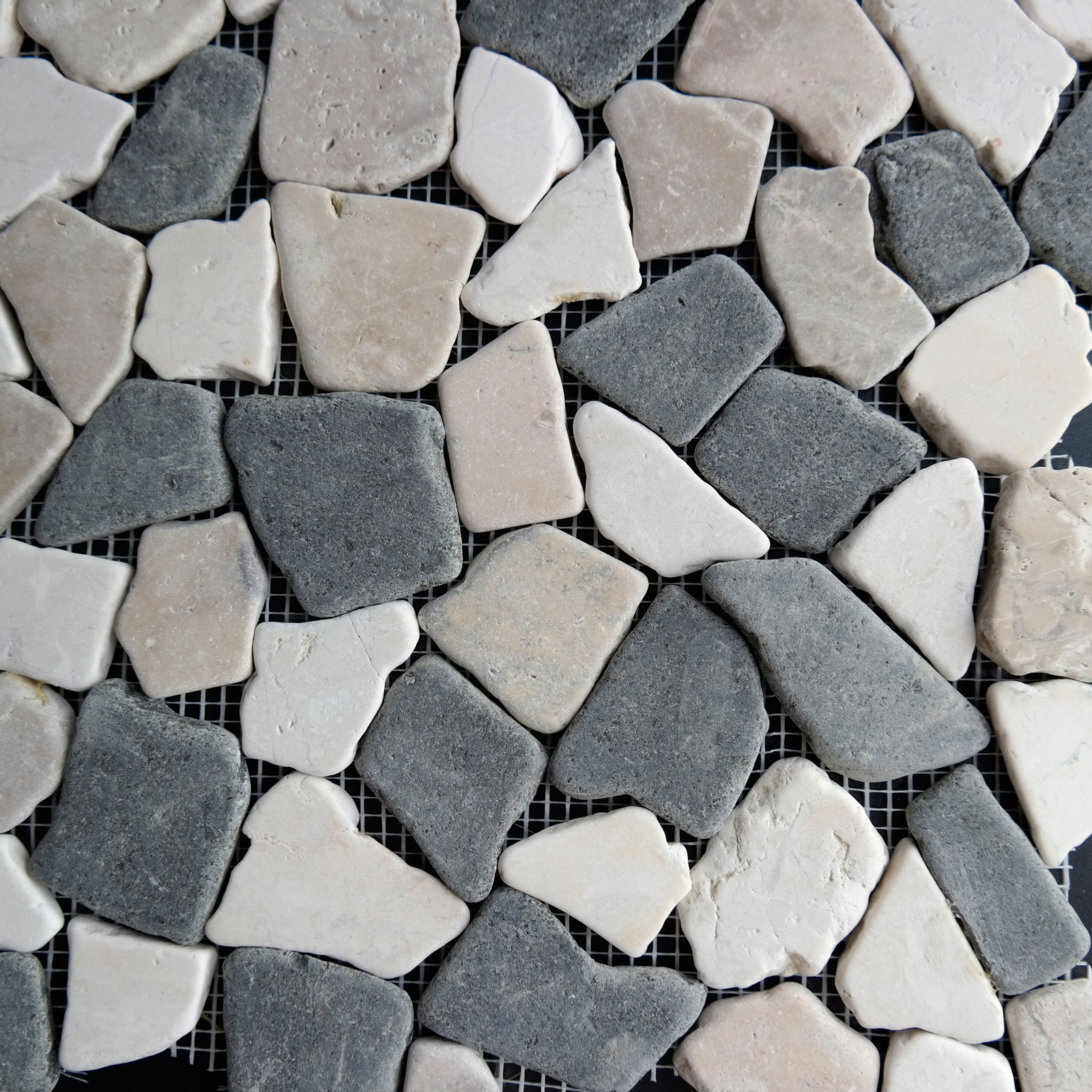 Beige Black Flat Pebble Mosaic