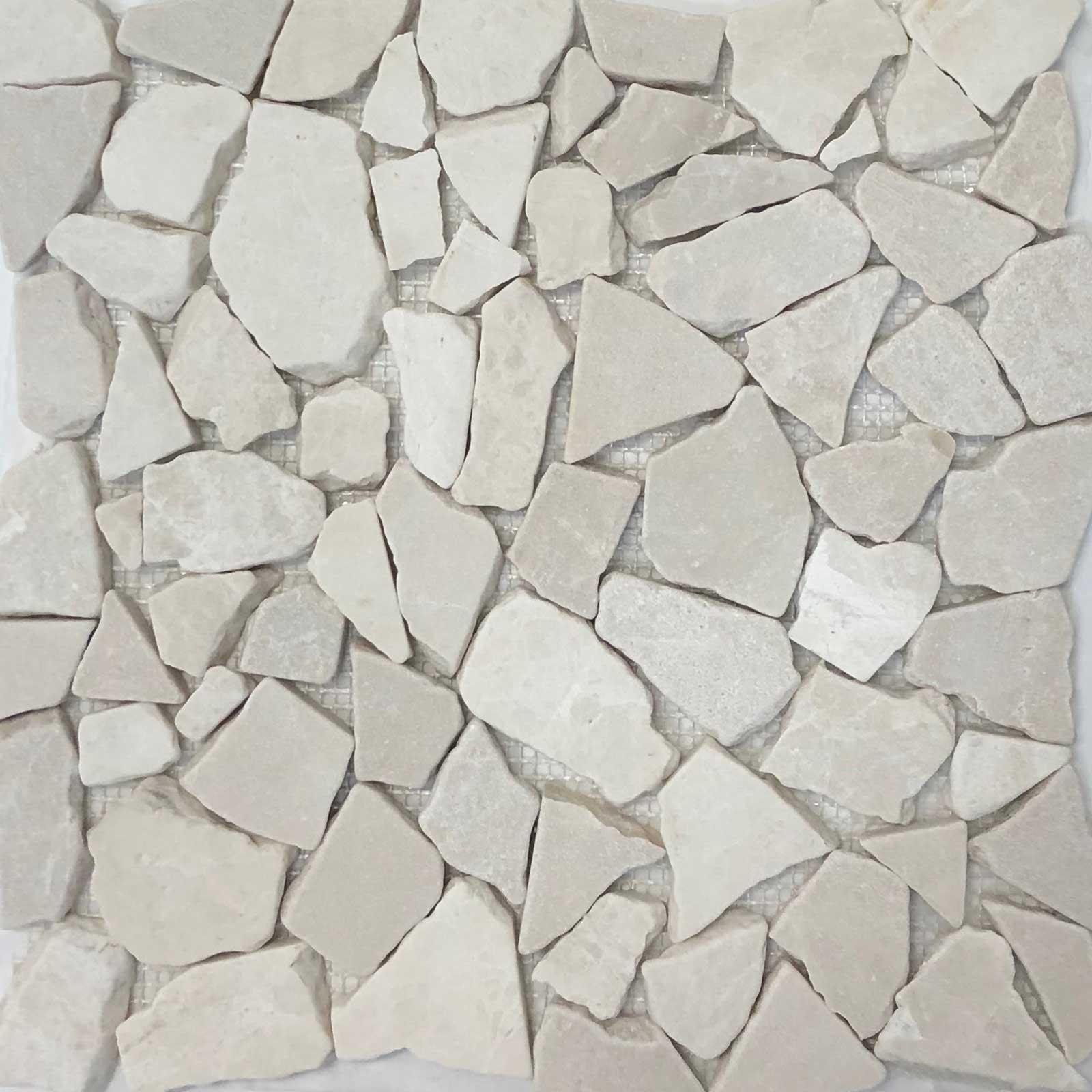 Botticino Beige Flat Stone Pebble Mosaic Tile