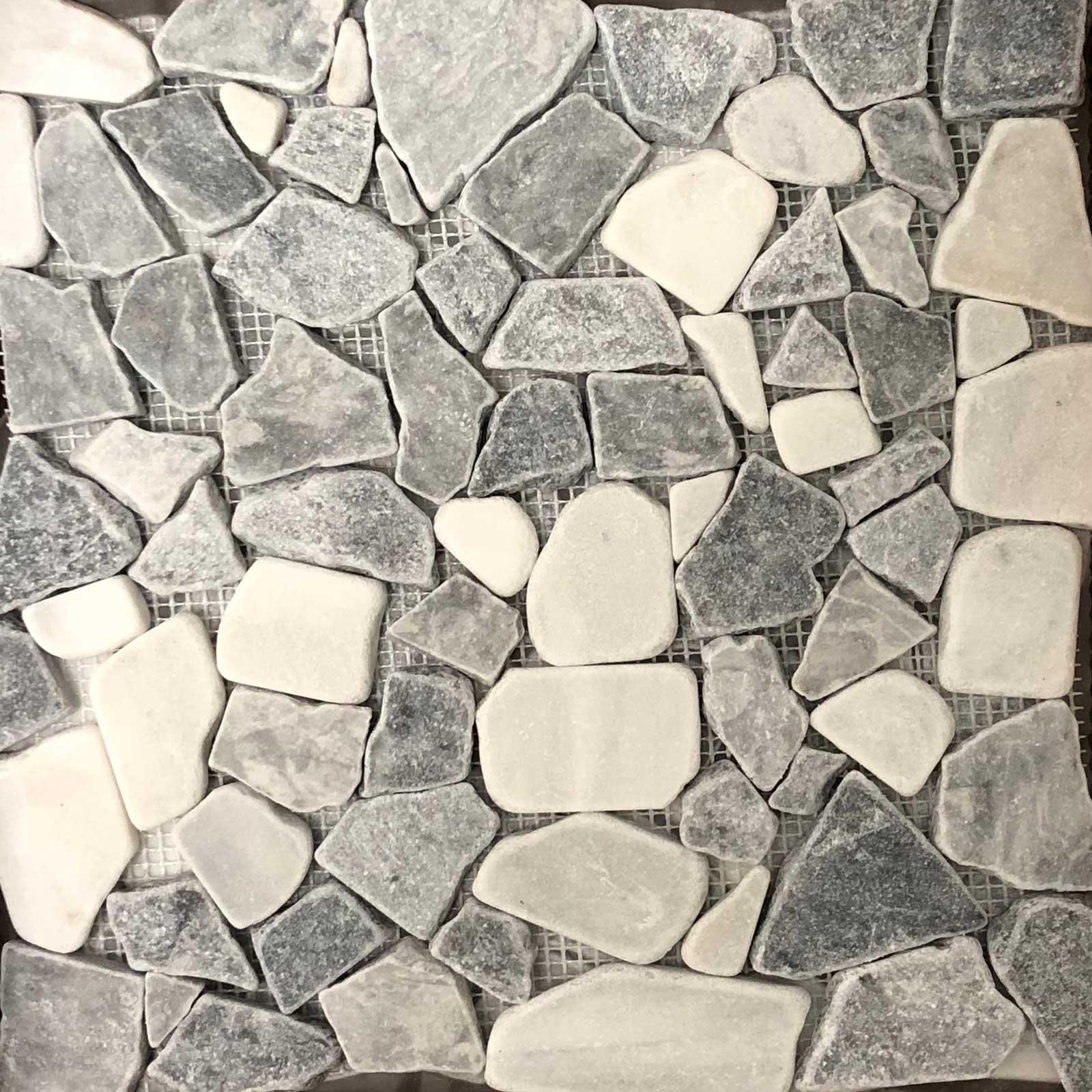 Light Grey Carrara Mixed Flat Pebble Mosaic Tile
