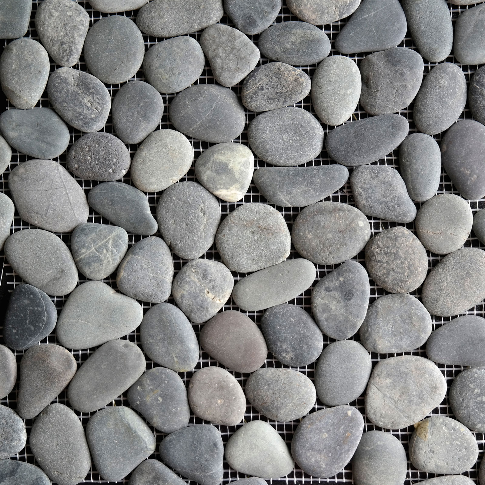 Black Round Stone Pebble Mosaic
