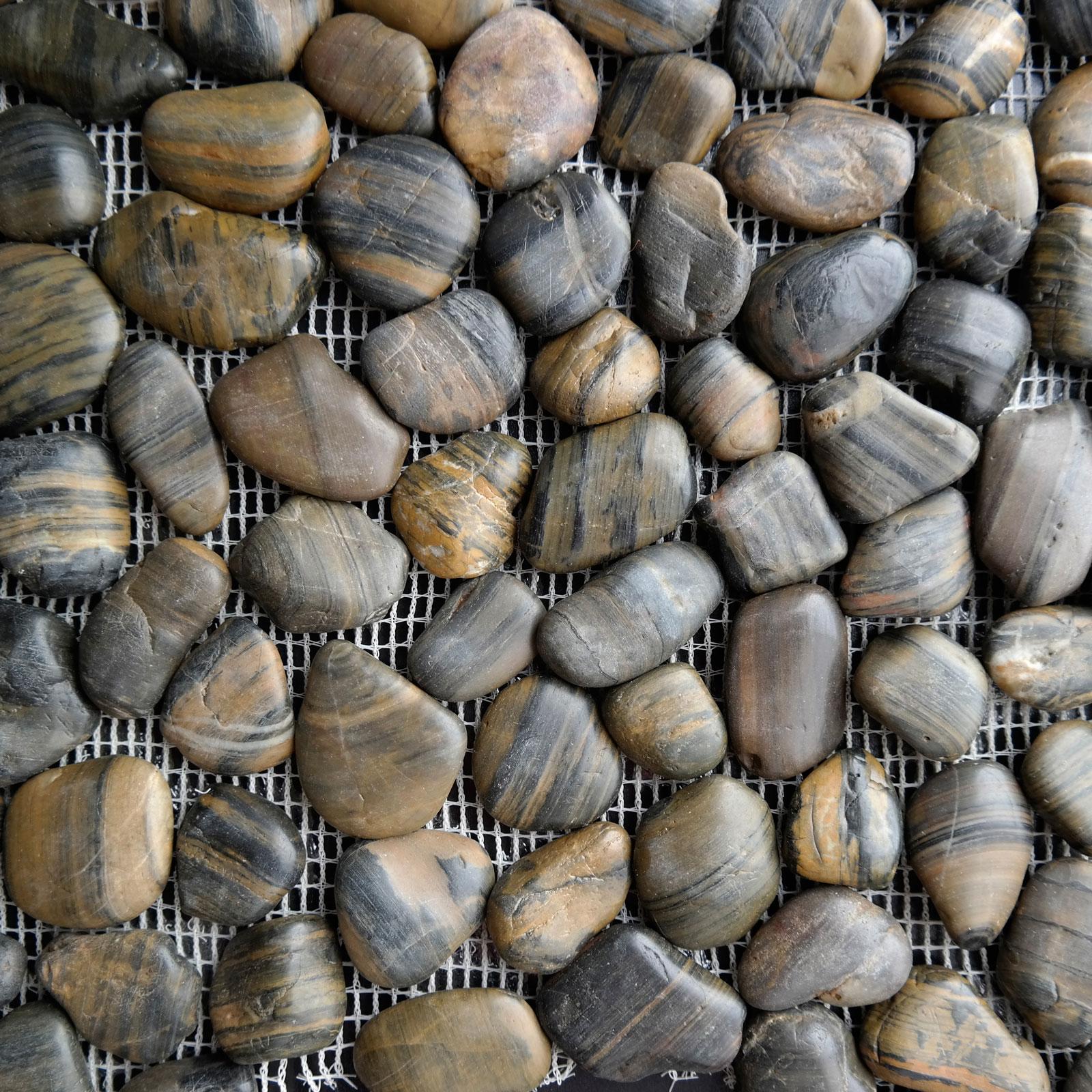 Black Brown Stone Pebble Mosaic