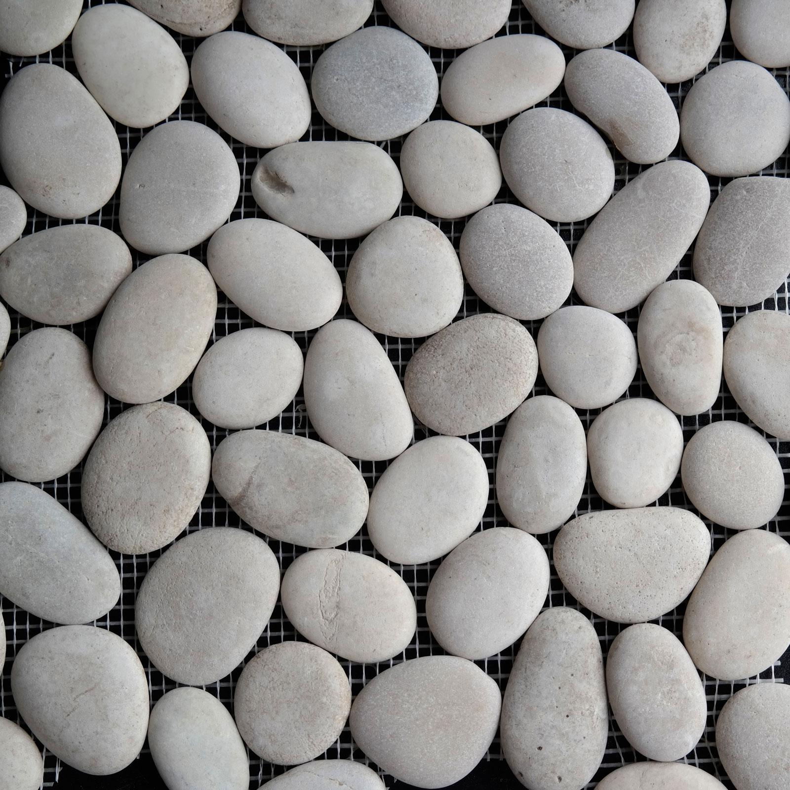 Beige Round Stone Pebble Mosaic