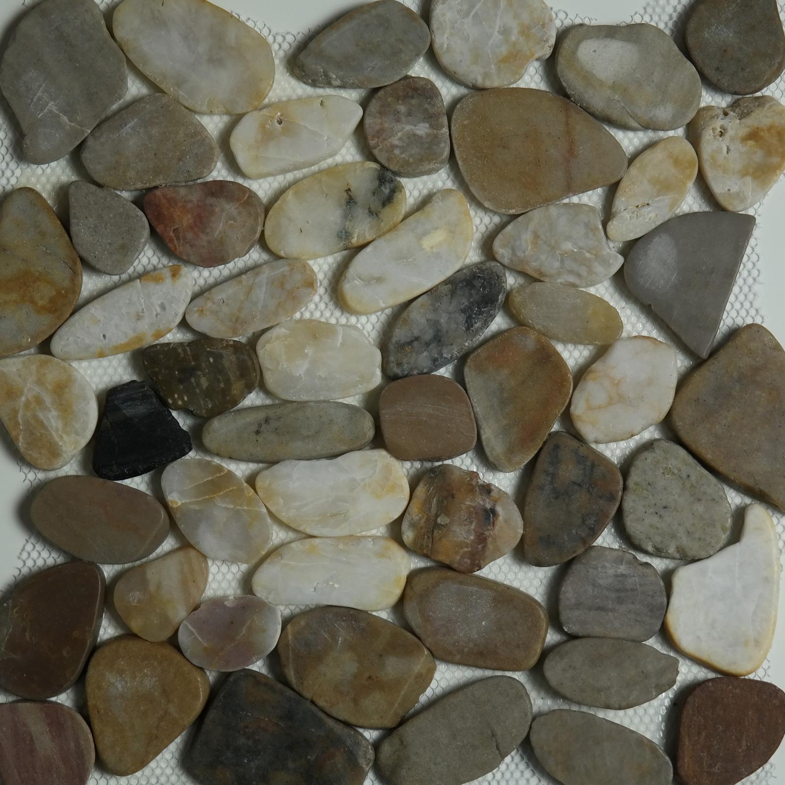 Mixed Color Sliced Pebble Mosaic
