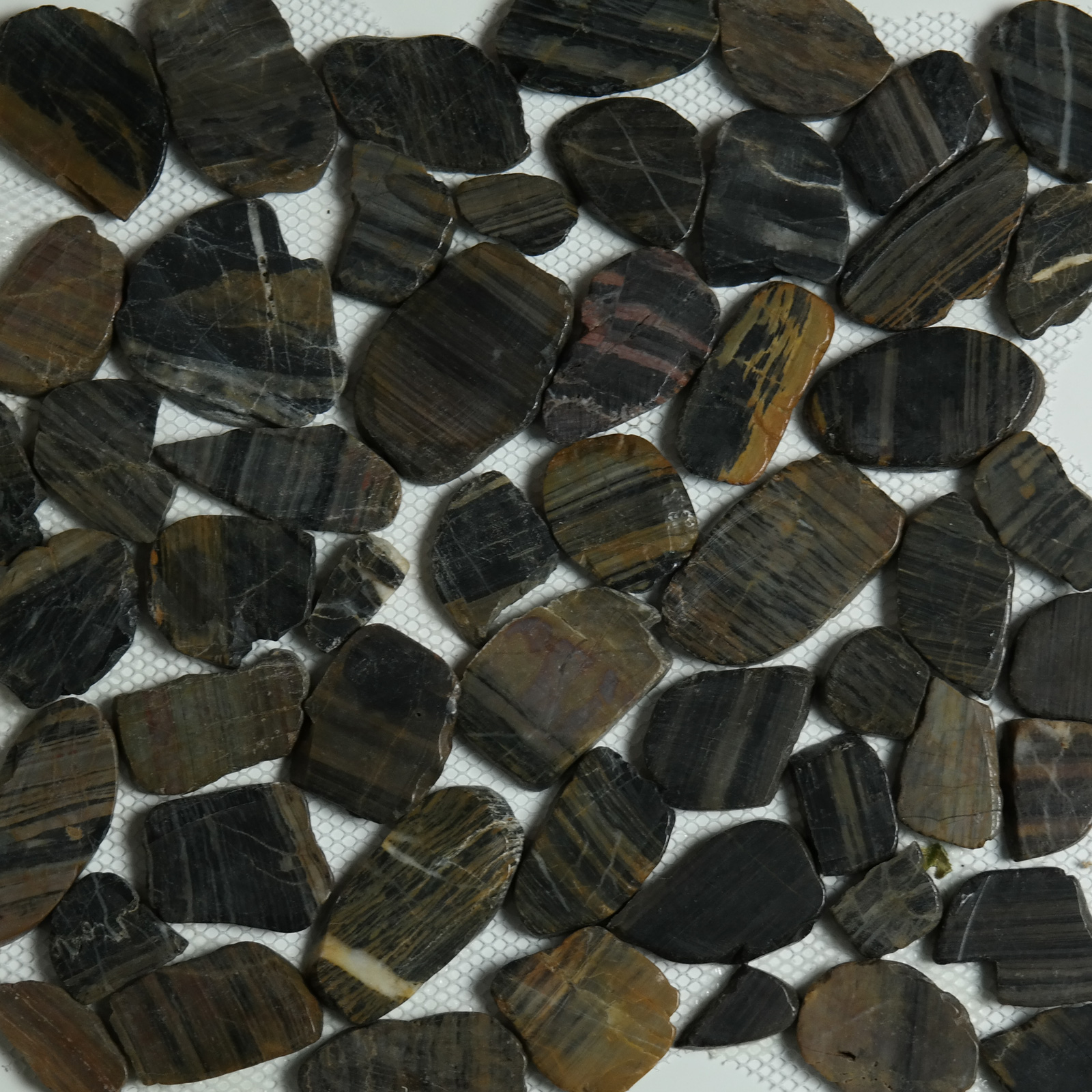 shiny black brown sliced stone pebble mosaic tile