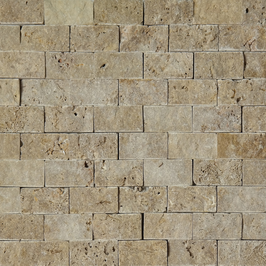 1 X 2 Split Face Mosaic Tile Noche Brown Travertine Honed
