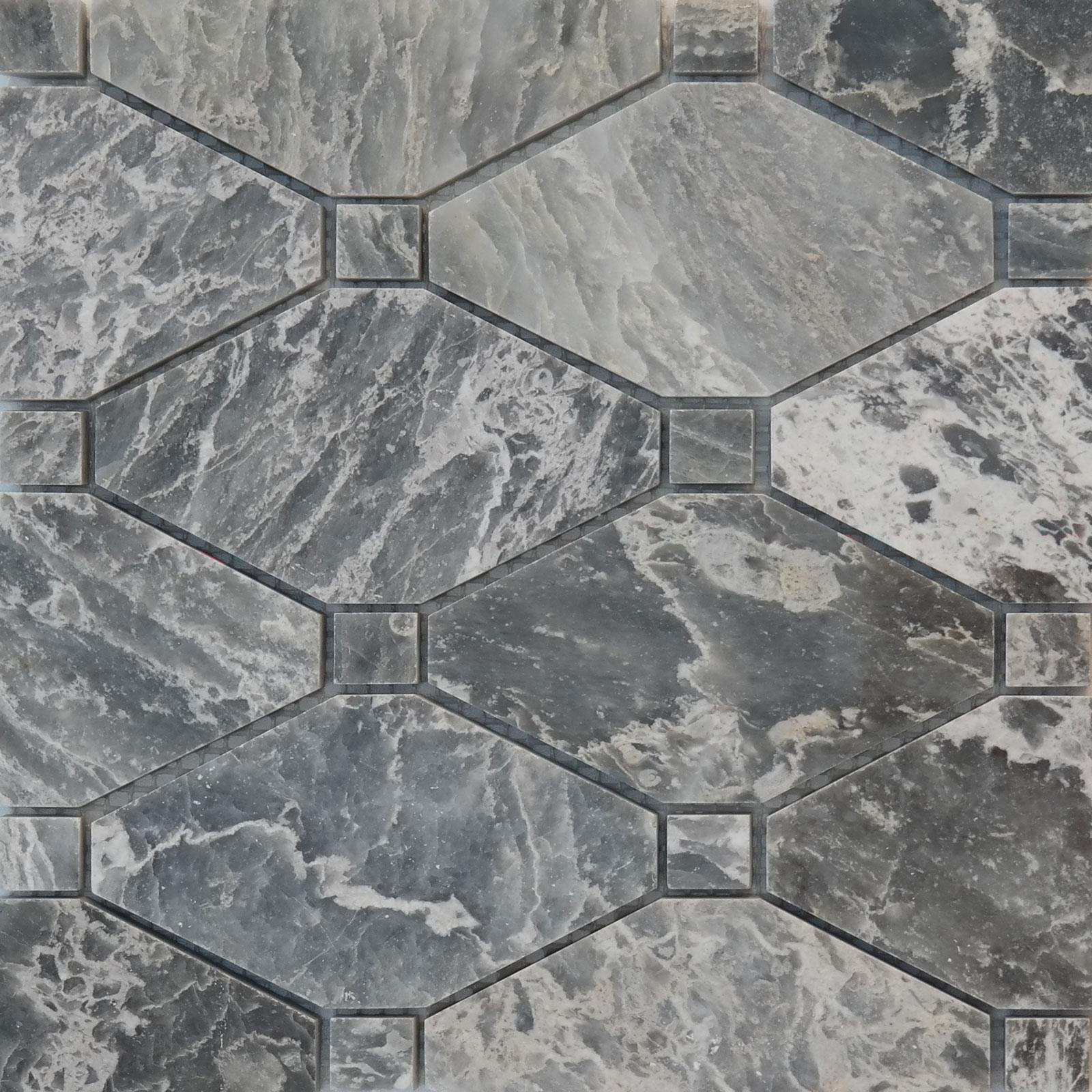 Boliche Mosaic Tile White Grey Marble Polished