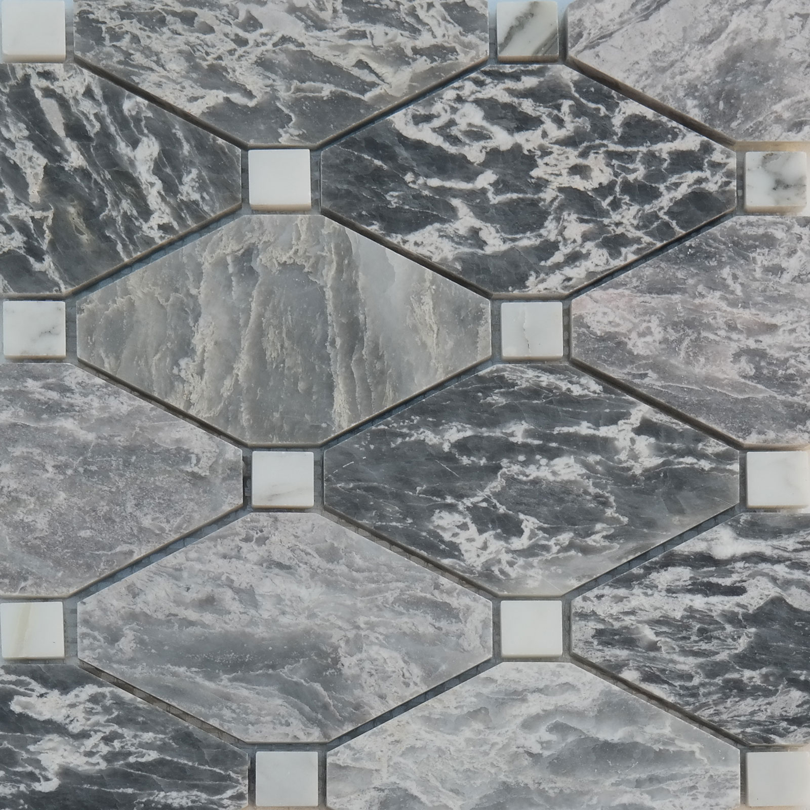 Boliche Mosaic Tile White Grey W Marble Polished