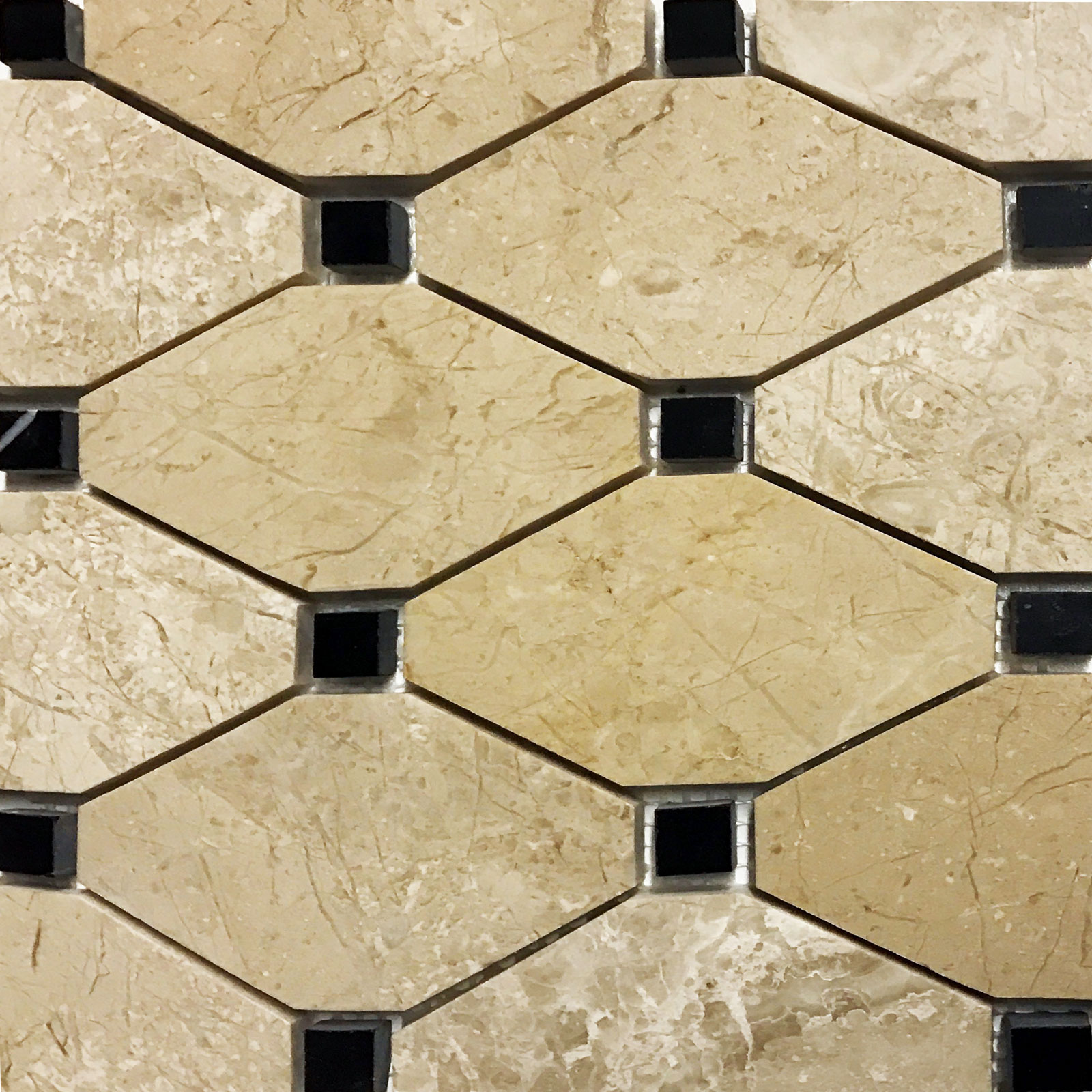 Boliche Mosaic Tile Beige Marfil Marble Black Polished