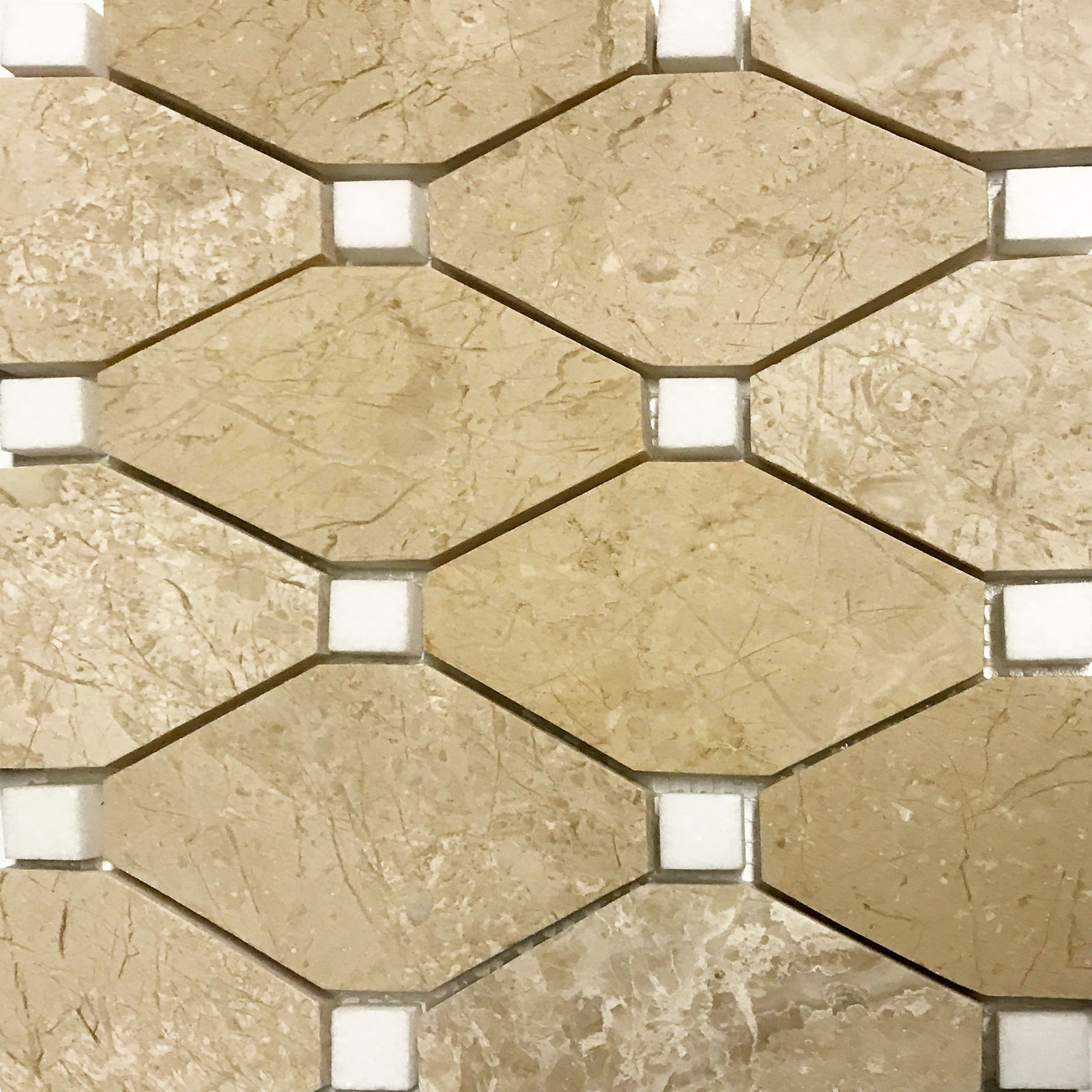 Boliche Mosaic Tile Beige Marfil Marble White Polished