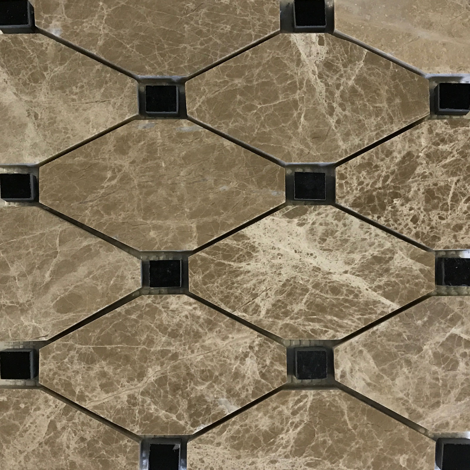 Boliche Mosaic Tile Emperador Light Black Marble Polished
