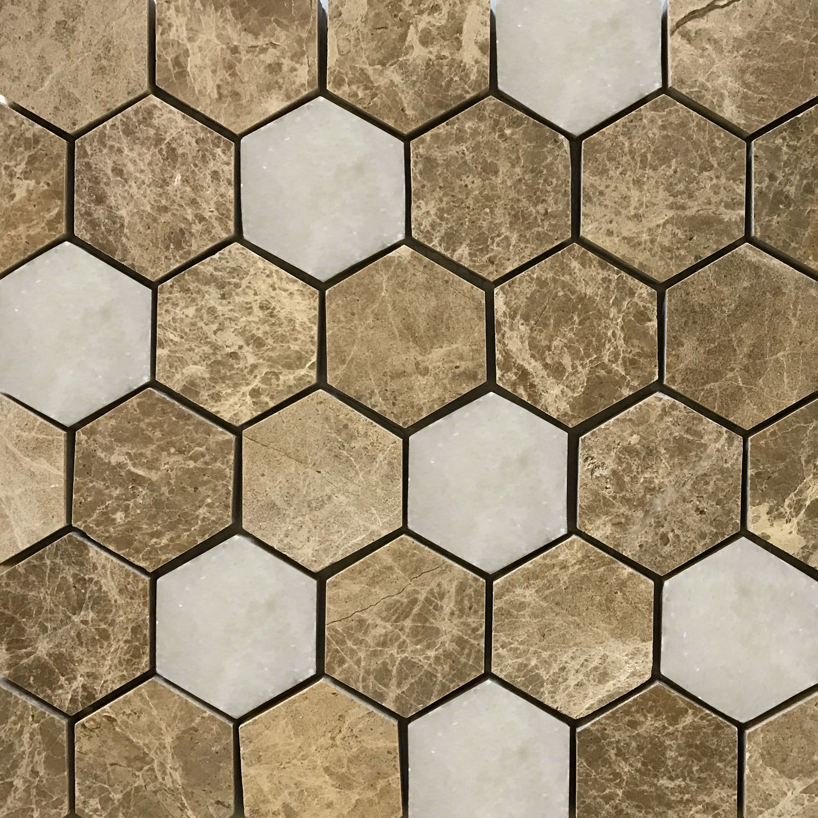 2 Inch Hexagon Mosaic Tile Emperador Light White Marble