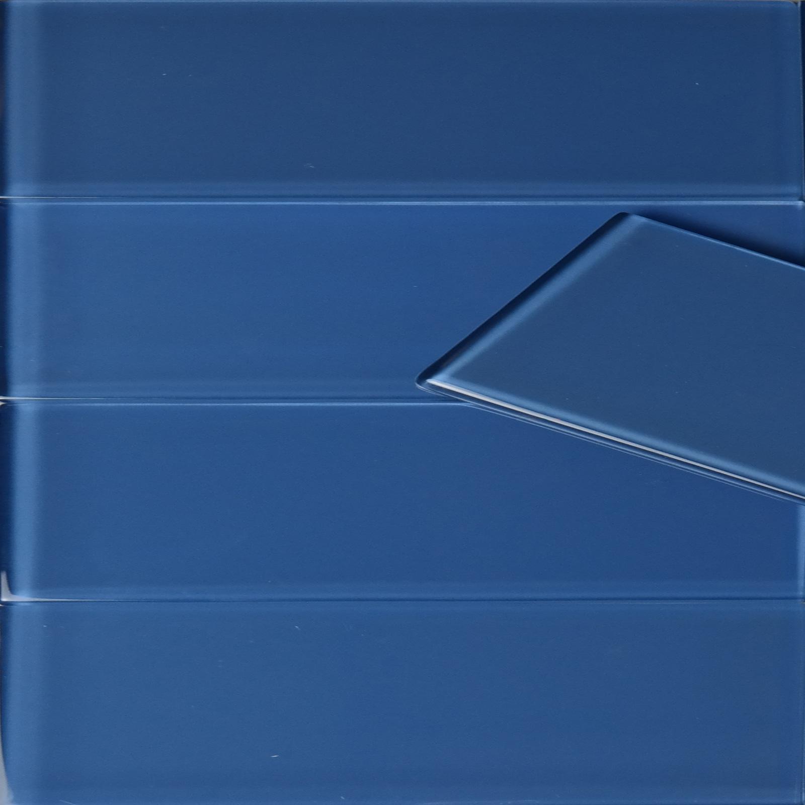 3 X 12 Blue Glass Subway Tile