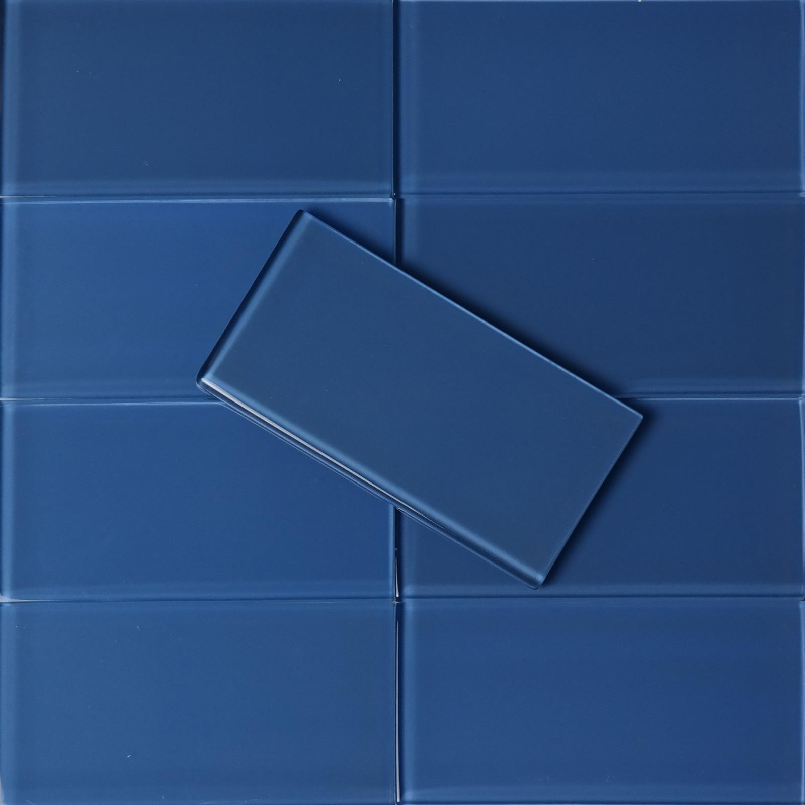 3 X 6 Blue Glass Subway Tile