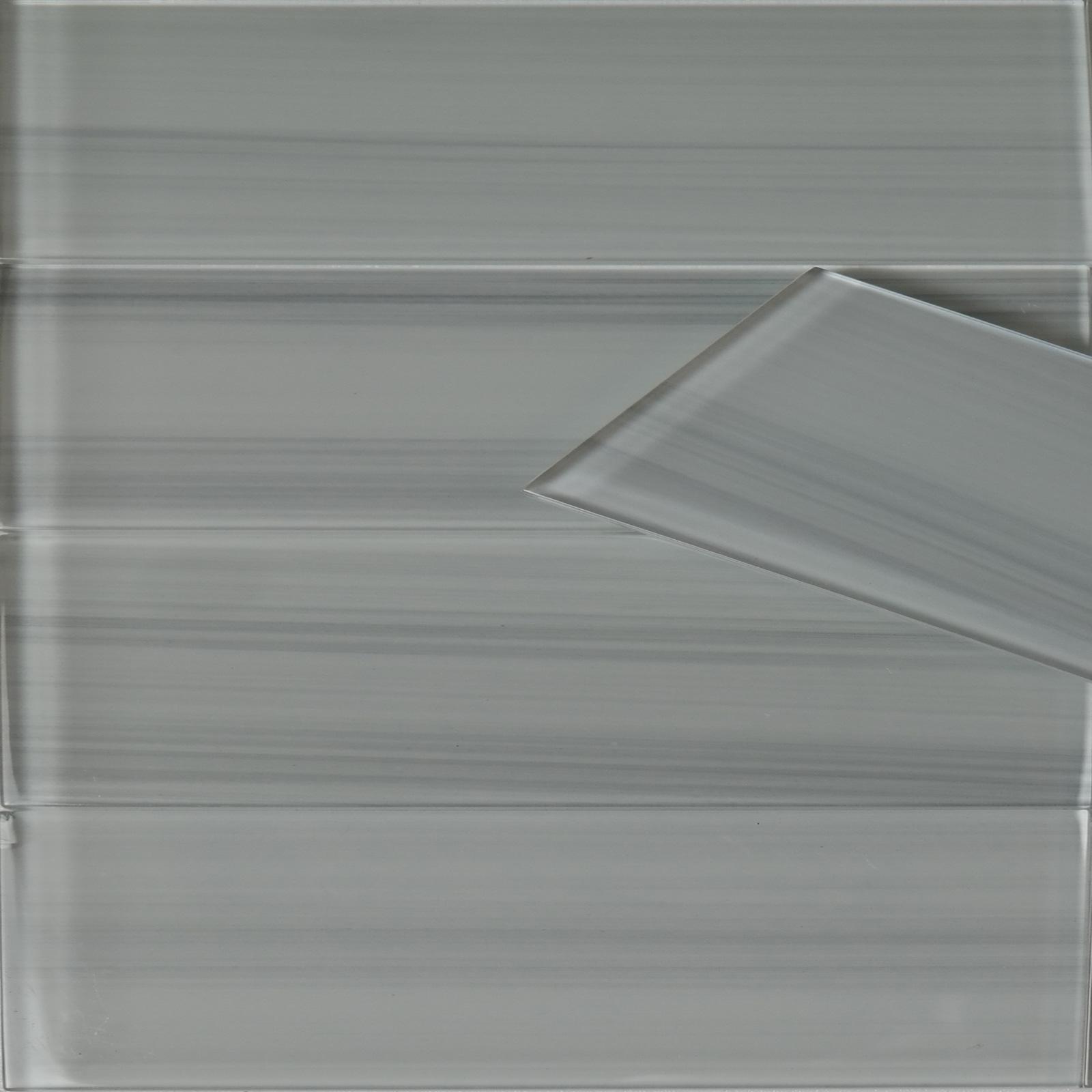 White Grey Line Glass Tile 3 X 12