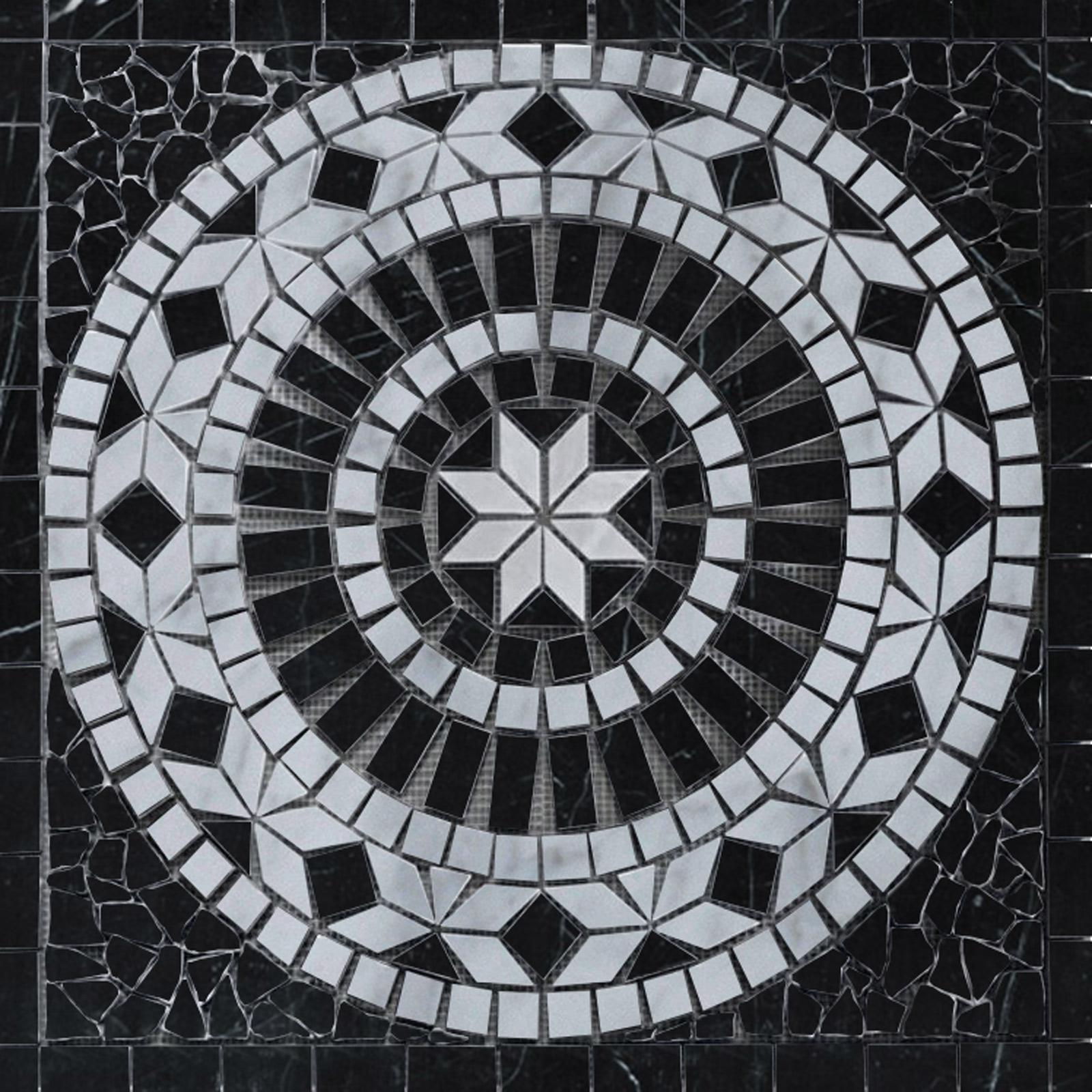 Medallion Mosaic 24 Black Tile