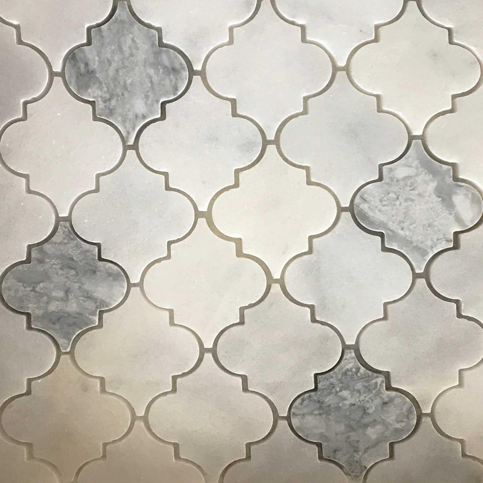 - White - Light Grey Arabesque Lantern Tile