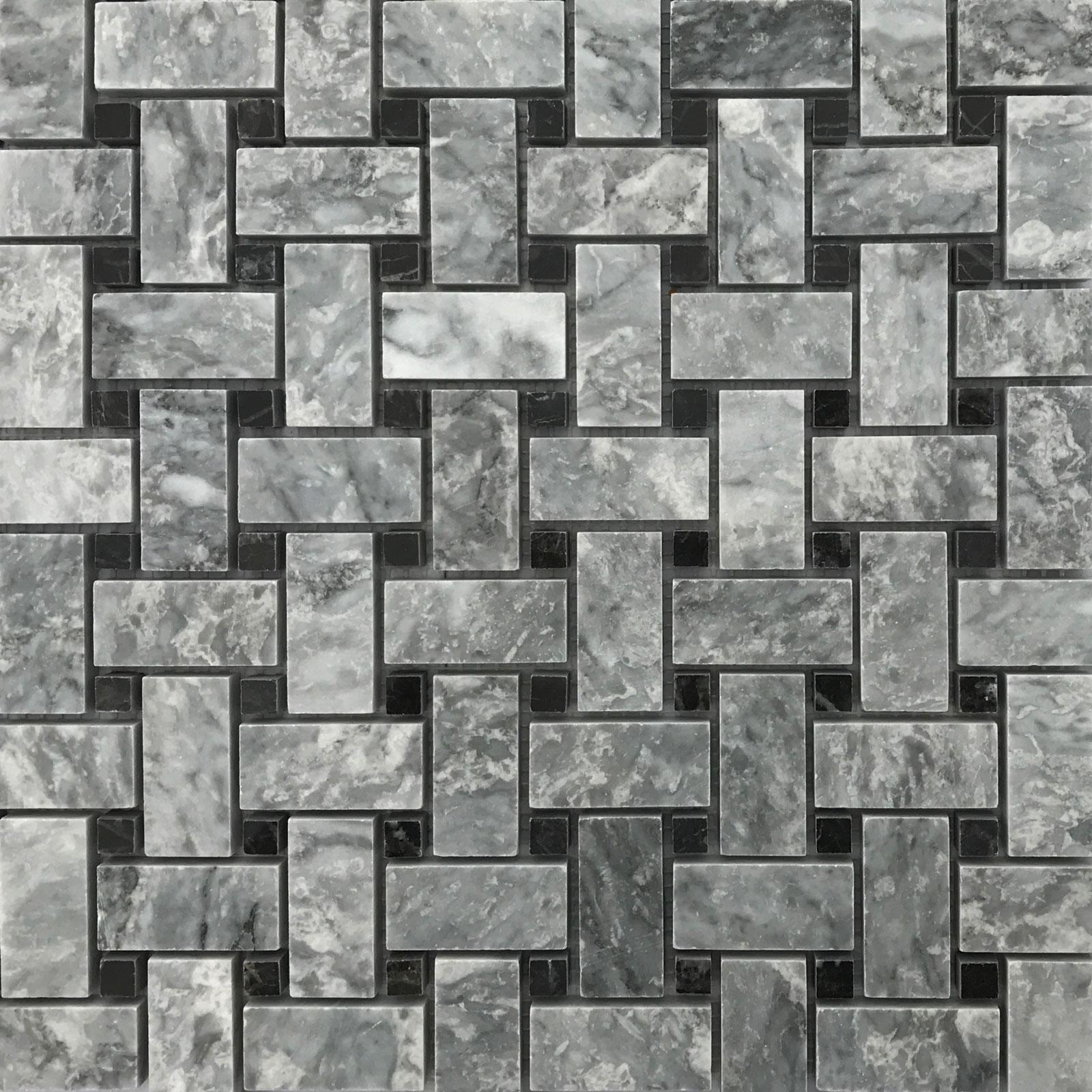 Basketweave Mosaic Bardiglio Marble