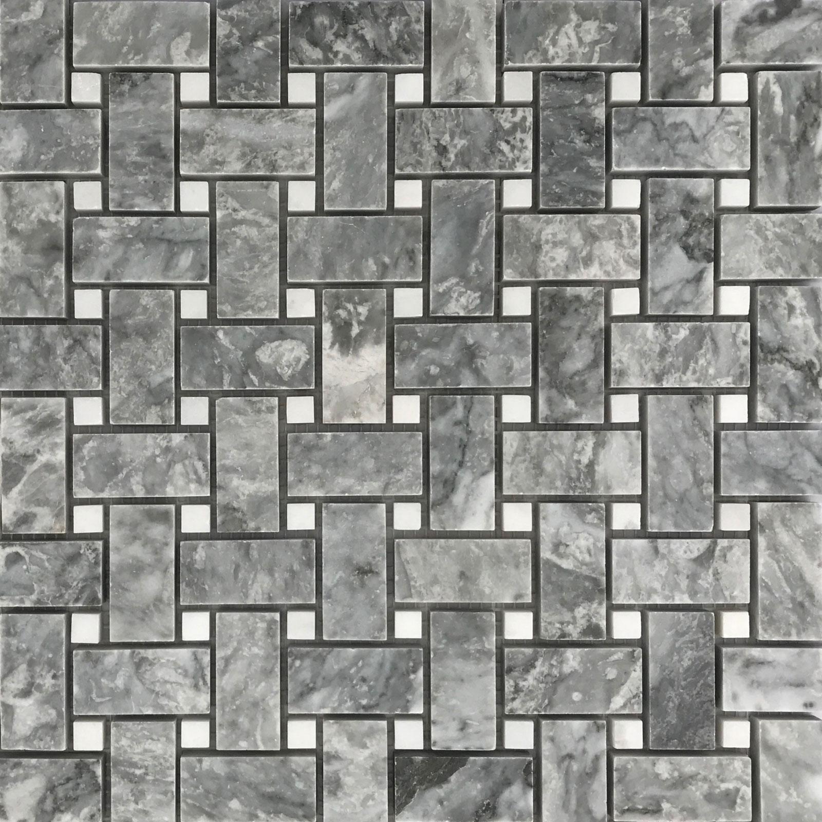 Basketweave Mosaic D Bardiglio Marble