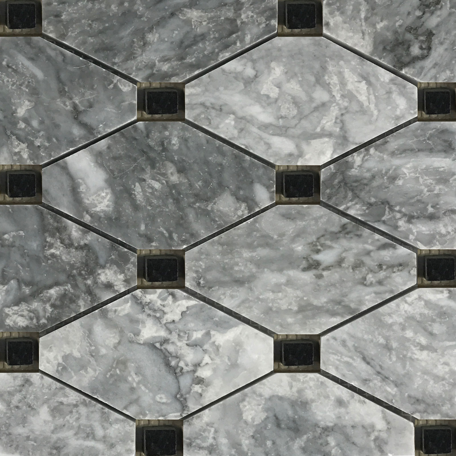 Boliche Mosaic Tile Light Grey Black Marble Polished