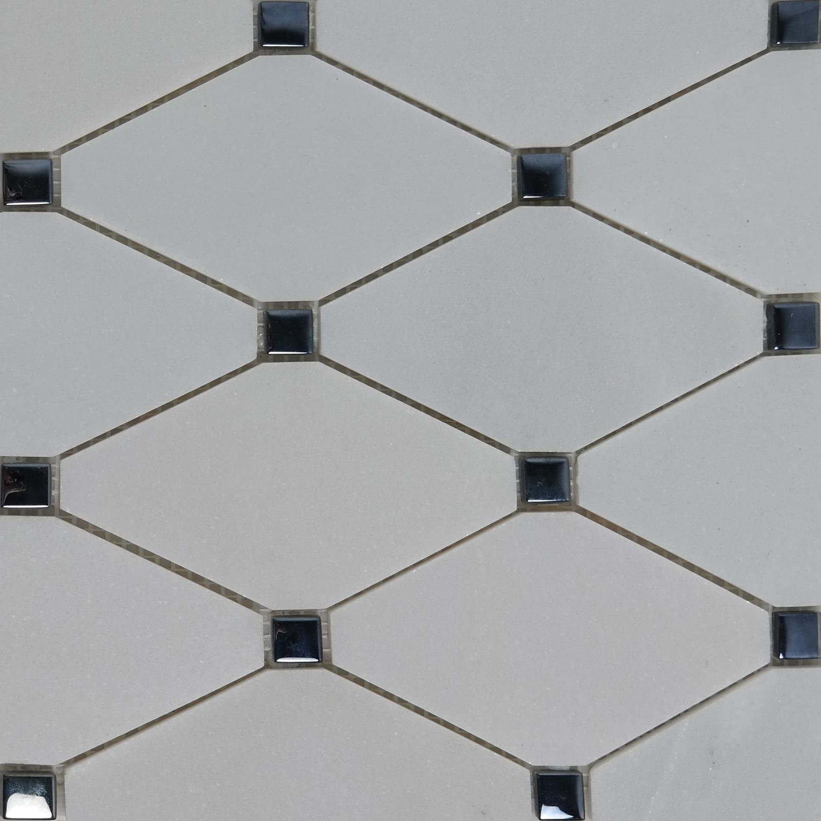 Long Octagon Mosaic Tile White Marble Glass Dot