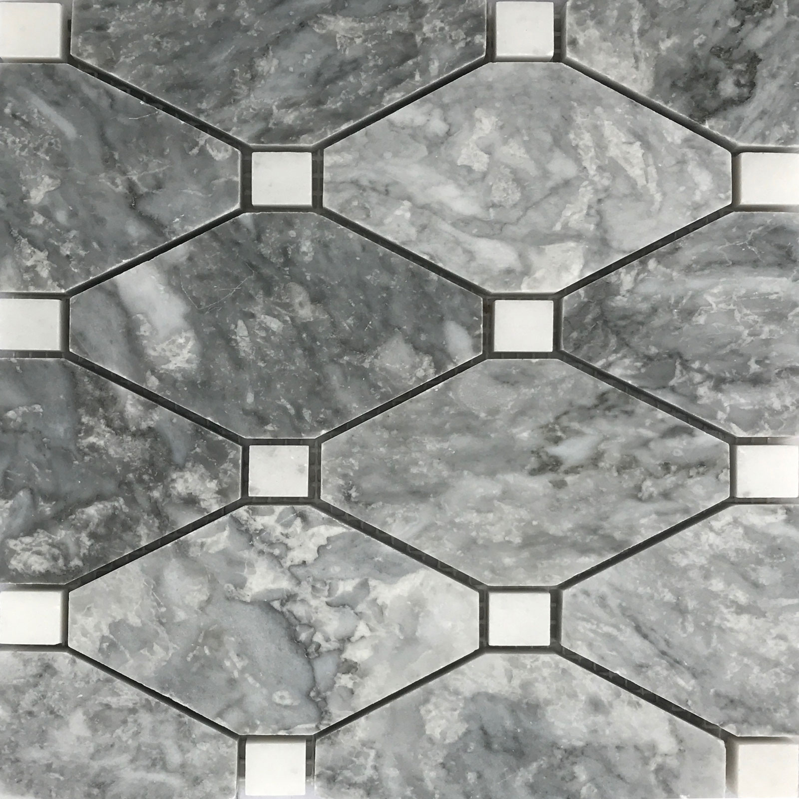 Boliche Mosaic Tile Light Grey White Marble Polished