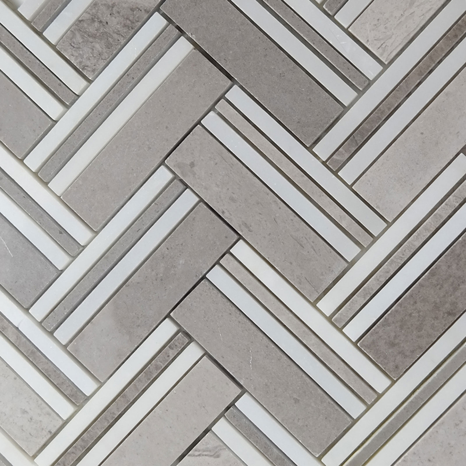 Herringbone Mosaic Grey Marble