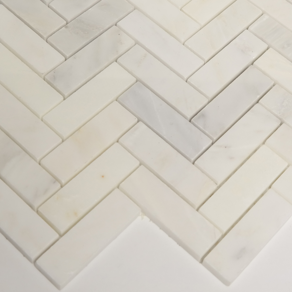 . 1 x 3 Herringbone Mosaic Honed Tile Asian Carrara Marble