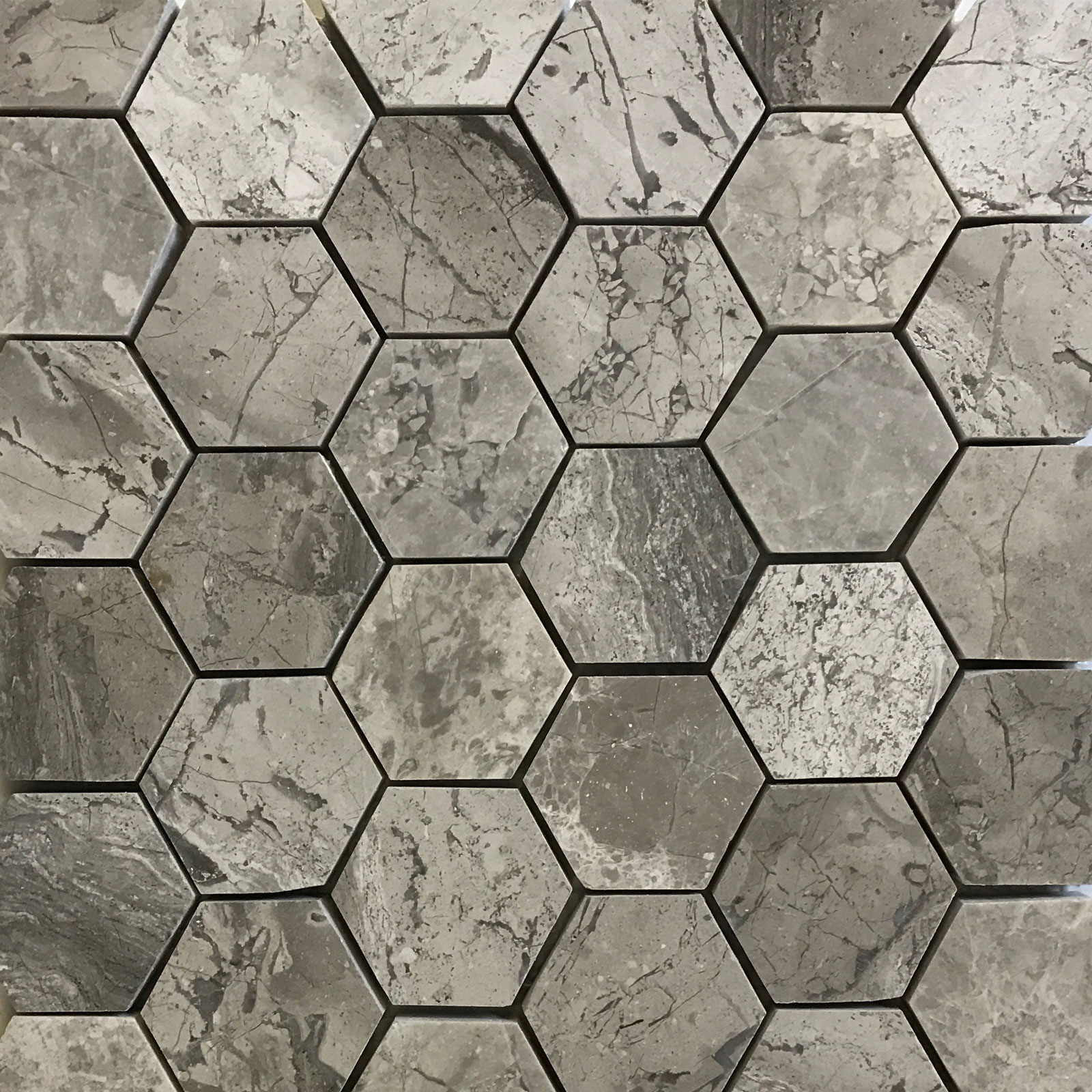 2 Inch Hexagon Mosaic Tile Shades Of Grey Marble Polished Sogh32