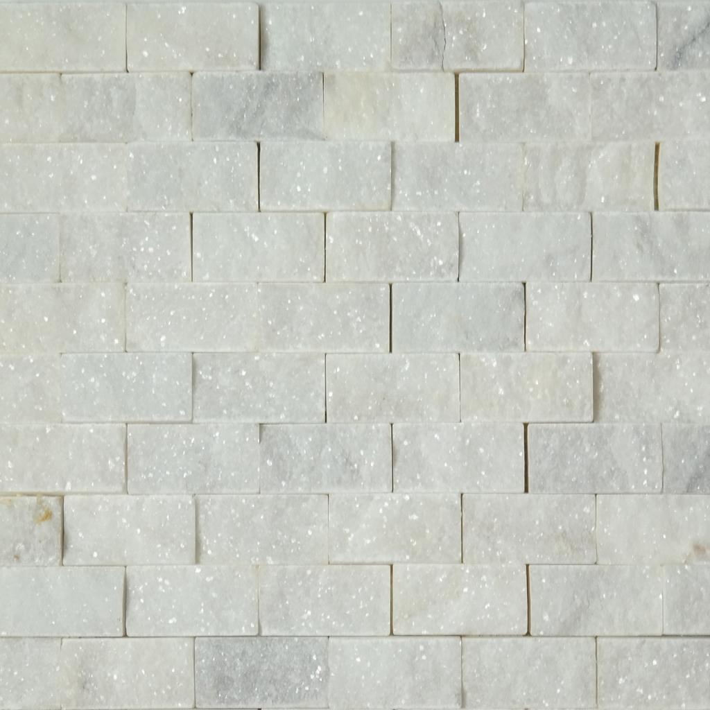 1 X 2 Split Face Mosaic Tile White Marble Honed Wmtsf12