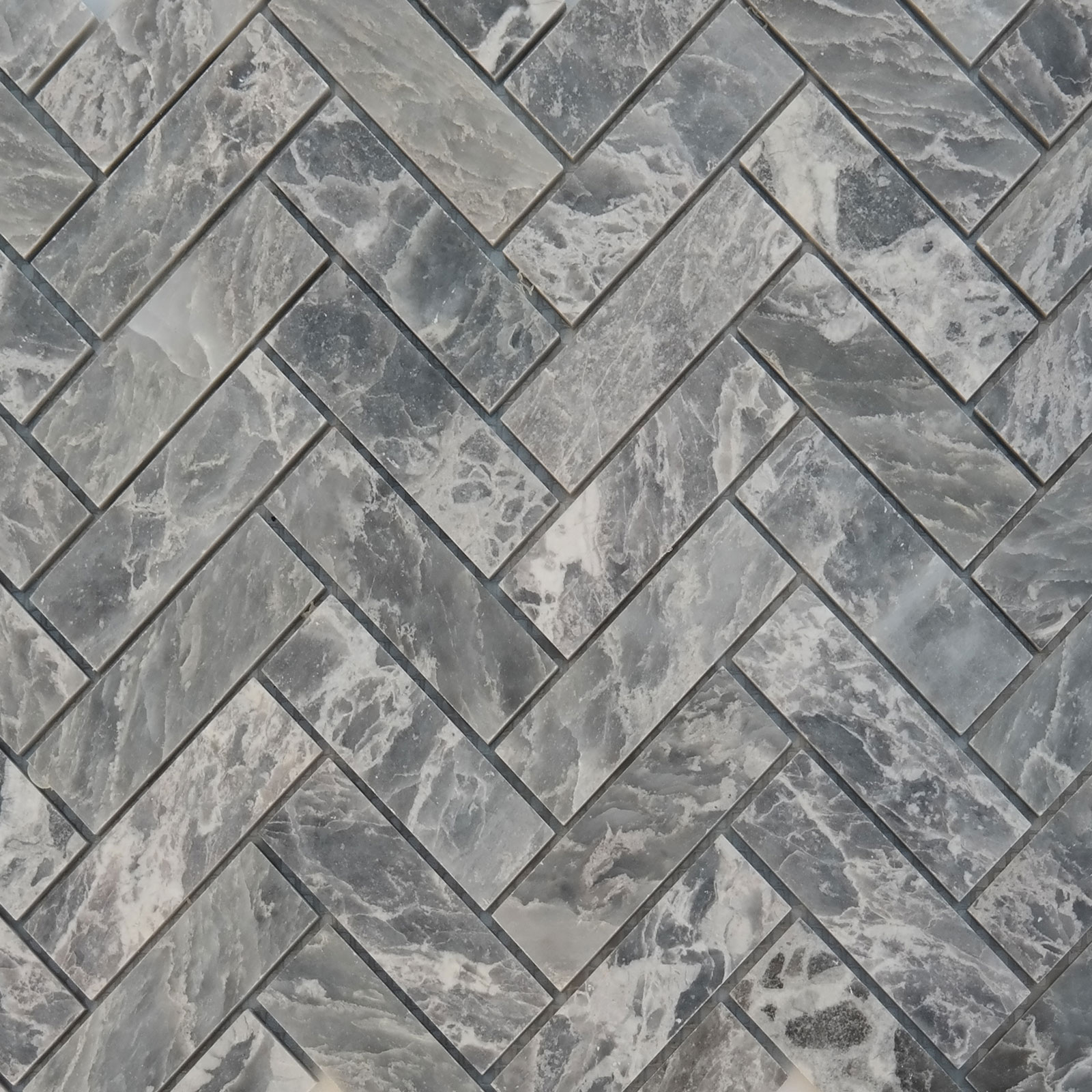 Herringbone Mosaic Tile White Grey Marble Polished Agmph13