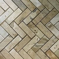 1 x 3 Herringbone Mosaic Tile Autumn Onyx Honed