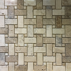 Basketweave Mosaic Tile Autumn Onyx Honed