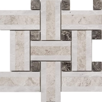 Triple Basketweave Mosaic Tile Whole Blanc - Galaxy - Dark Grey