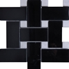 Large Basketweave Mosaic Tile Absolute Black Granite Polished