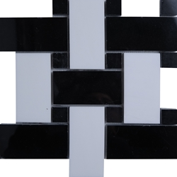 Large Basketweave Mosaic Tile Absolute Black and Dolomite