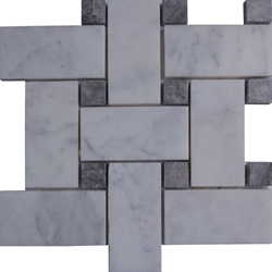 Large Basketweave Tile Mosaic Imperial Carrara Dark Grey Dot
