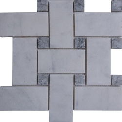 Large Basketweave Tile Mosaic Imperial Carrara Grey Dot