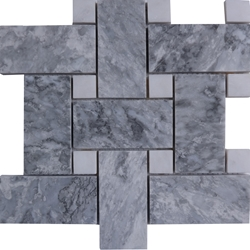 Large Basketweave Mosaic Tile Light Grey White Marble Polished