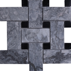 Large Basketweave Mosaic Tile Light Grey Black Marble Polished