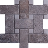 Large Basketweave Mosaic Tile Silver Travertine Tile White Dot