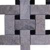 Large Basketweave Mosaic Tile Silver Travertine Tile Black Dot