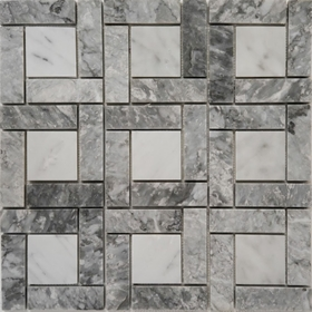 Target Pinwheel Pattern Tile Light Grey and Bianco Carrara Marble