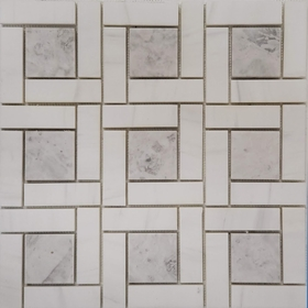 Target Pinwheel Pattern Tile Mosaic Imperial Carrara and Moon White Carrara