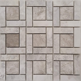 Target Pinwheel Pattern Tile Mosaic Moon White Carrara and Tundra Grey