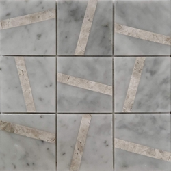 4 x 4 Custom Design Mosaic Tile Bianco Carrara Tundra Grey Marble