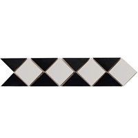 Border Triangle Mosaic Tile Absolute Black with Dolomite Border mosaic, accent tile, dolomite, absolute black
