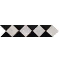 Border Triangle Mosaic Tile Absolute Black with Imperial Carrara Border mosaic, accent tile, carrara, absolute black