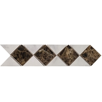 Border Triangle Mosaic Tile Imperial Carrara with Dark Emparador Border mosaic, accent tile, carrara, dark emparador