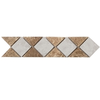 Border Triangle Mosaic Tile  Emparador Light - Iceberg Border mosaic, accent tile, iceberg, emparador, marble
