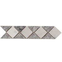 Border Triangle Mosaic Tile Light Grey - Carrara Border mosaic, accent tile, carrara, bardiglio, light grey